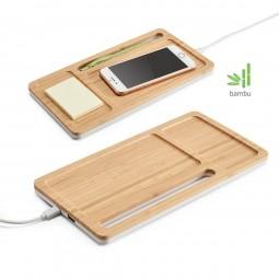 Carregador wireless tipo organizador para mesas personalizado bambu Mott