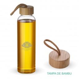 Garrafa vidro personalizada com tampa de bambu Ga7000